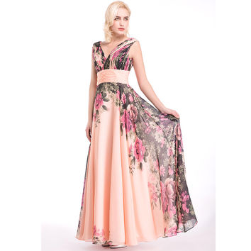 Long Evening Gown A Line Flowers Printed V Neck Evening Dress  Floral Print Chiffon Party Prom Dresses