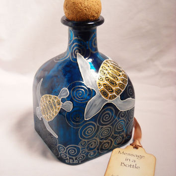 Hand Painted Decanter, Painted Sea Turtle Bottle Art Vase, Message in a Bottle