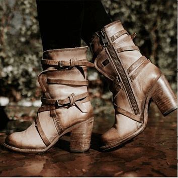 Leather Lace Up High Heel Calf Boots