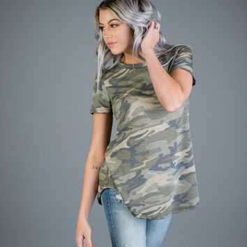 Solid Camo Short Sleeve Top
