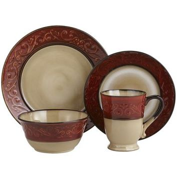 Red Scroll Dinnerware