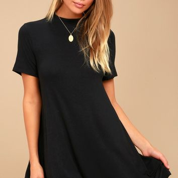 Meant to Be Black Mock Neck Swing Dress