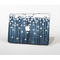 The Dark Blue & White Shimmer Strips Skin Set for the Apple MacBook Air 11""