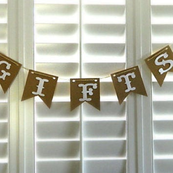Country Chic Rustic Gifts Banner, Wedding Banner, Birthday Banner, Baby Shower