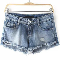 Faded Blue Ripped Fringe Denim Shorts