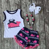 new baby girls shorts sets  boutique outfit cute hot pink whale summer cotton chevron clothes macth with necklace and bow