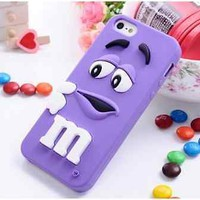 iphone 6 4.7inch Purple M&M's Candy Silicone Cell Phone Case