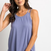 Blue Solid Double Strap Maternity Tank Top