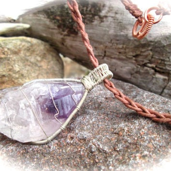 Natural Amethyst Necklace, Silver Wire Wrapped Raw Unpolished Crystal, Celtic Braided Brown Hemp, Wicca Shaman Pagan Long Chain Necklace