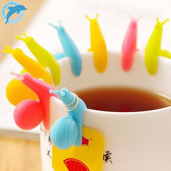 LINSBAYWU 5 PCS/lot Cute Snail Shape Silicone Tea Bag Holder Cup Mug Candy Colors Gift Set GOOD Random Color!