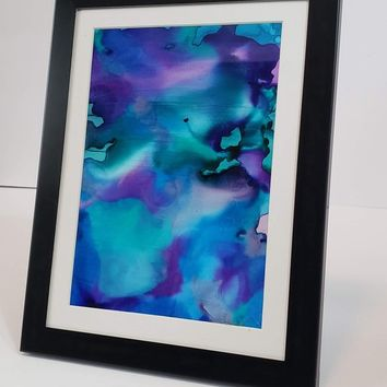Alcohol Ink on Yupo Paper, Abstract Wall Art, Teal Mermaid, 5x7 Wall Art, Art on Yupo Paper, 717Art, Ink Painting, Yupo Paper Art