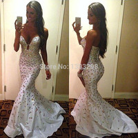 Hot Selling Sexy Sweetheart Mermaid Prom Dresses White Taffeta Vestidos De Formatura Longo 2014 Free Shipping Long Prom Dress
