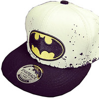 Delicatecap Cotton Embroidery Batman Children Snapback Hat Hip-pop Hat Adjustable Cap Baseball Hat White