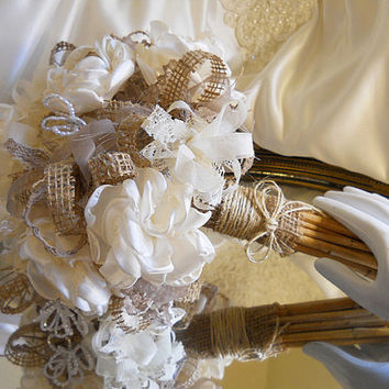 Burlap and Ivory Bridal Wedding Bouquet, handmade ivory peonies, vintage pearls, vintage stained lace and natural stem handle.