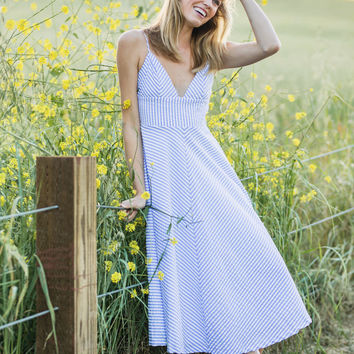 Nikki Blue Pin Stripe Midi Dress