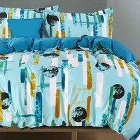 Brocade Galaxy and Flowing Lines Lake Blue Luxury 4-Piece Cotton Bedding Sets