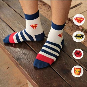 Hot-sell men socks cotton superman spider-man fashion cotton striped socks high quality men's and male hip hop socks