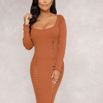 LaceUp Plung Dress with Sleeves