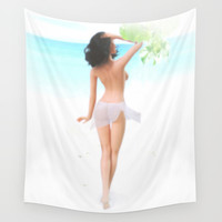 Where the weather's warm and the girls are pretty. Wall Tapestry by John Medbury (LAZY J Studios)