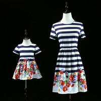 Brand family matching outfit fashion cotton clothes mommy and me baby daughter striped dress mother kids girl Summer beach dress