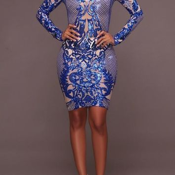 Royal Blue Geometric Pattern Sequin Deep V-neck Sparkly Bodycon Cocktail Party Midi Dress