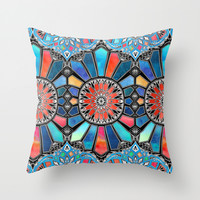 Iridescent Watercolor Brights on Black Throw Pillow by Micklyn