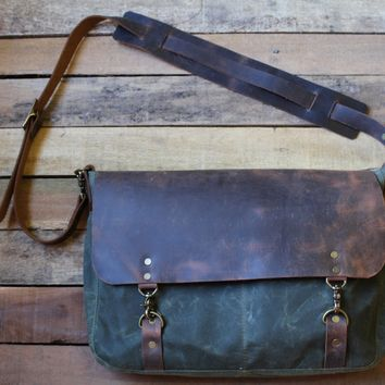 Waxed Canvas Leather Messenger Bag