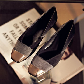 Summer Leather Metal Square Toe Flat Pregnant Shoes [4920625092]