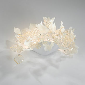 Wall lighting lamp,clear and with flowers and leaves