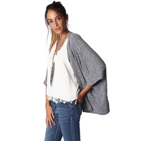 Blue knitted waterfall cardigan with fleck