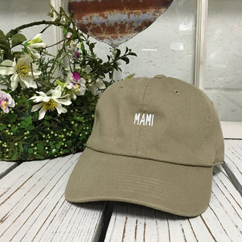 MAMI Stone Mothers Day Baseball Hat Low Profile Embroidered Baseball Caps Dad Hats White Thread