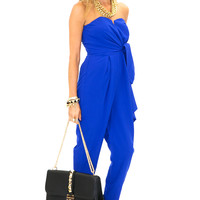 CANDENCE STRAPLESS BOW TIE JUMPSUIT - Blue