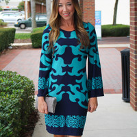 Hello Baby Dress - Teal/Navy