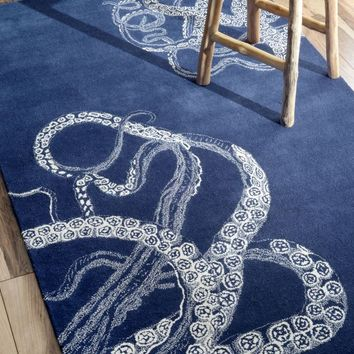 NuLOOM Hand Tufted Octopus Tail Rug Navy