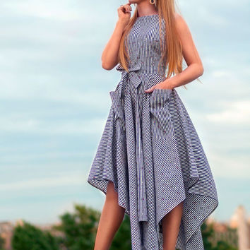striped dress, Cotton dress, blue casual summer dresses, asymmetrical dress, Tea length dress, summer 2016, sun dress, sleeveless dress