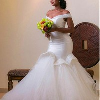 [218.99] Fabulous Tulle & Satin Off-the-shoulder Neckline Mermaid Wedding Dresses With Beadings - dressilyme.com