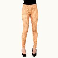 Woodgrain Printed Faux Bois Wood Leggings