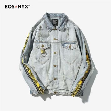 Eosnyx Kanye West Men's Hip Hop Patch Denim Jacket Rock Punk Jeans Jacket Summer Coat Jaqueta Masculina Chaqueta Hombre