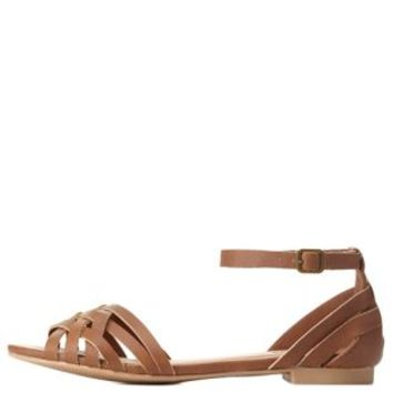 Strappy Ankle Strap Flat Sandals by Charlotte Russe