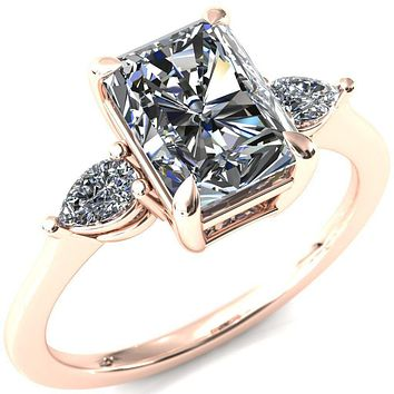 Robyn Radiant Moissanite 4 Claw Prong 2 Rail Basket Pear Sidestones Inverted Cathedral Engagement Ring