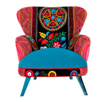 Suzani armchair - turquoise red