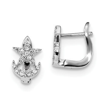 Stelring Silver Rhodium-plated CZ Star and Moon Hinged Hoop Earrings QE14050