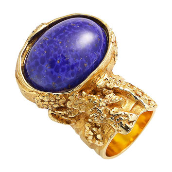 Saint Laurent Yves YSL Arty Ovale Oval Ring Blue Glass Set 196994 Size 6