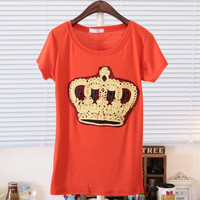 Spring Crown Pattern Round Neck Short Sleeves Tee Multiple Colors