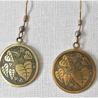 Etched Leaves 1970s Brass Disc Earrings