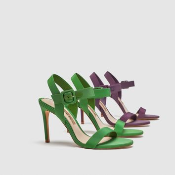 FABRIC HIGH-HEEL SANDALS DETAILS