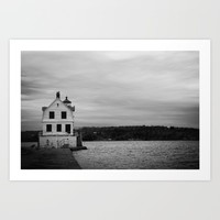Black and White Breakwater Lighthouse Art Print by Mae2Designs