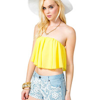 Strapless Ruffled Cropped Top