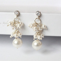 Cluster Earrings, Swarovski pearl dangle earrings Cubic Zirconia posts, bridal earrings, Sterling Silver earrings