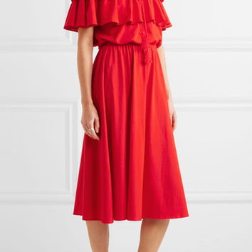 J.Crew - Poppy off-the-shoulder ruffled cotton and linen-blend dress